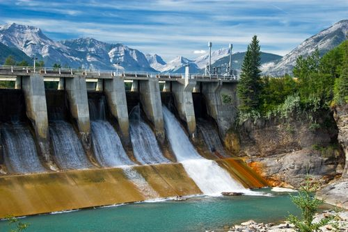 Hydroelectric Dam in Canadian Rockies