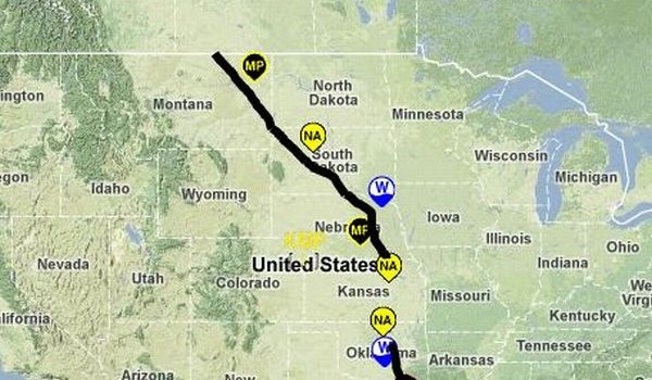 Route Map of the Keystone XL Pipeline