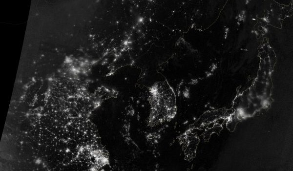 Korea and the Yellow Sea at Night