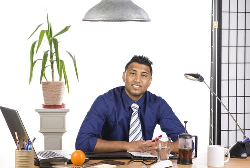 Office Worker with Water and Fruit